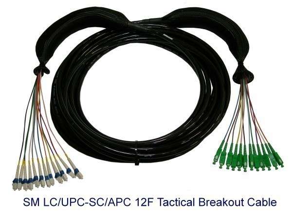 SM LC/UPC-SC/APC 12F Tactical Breakout Cable
