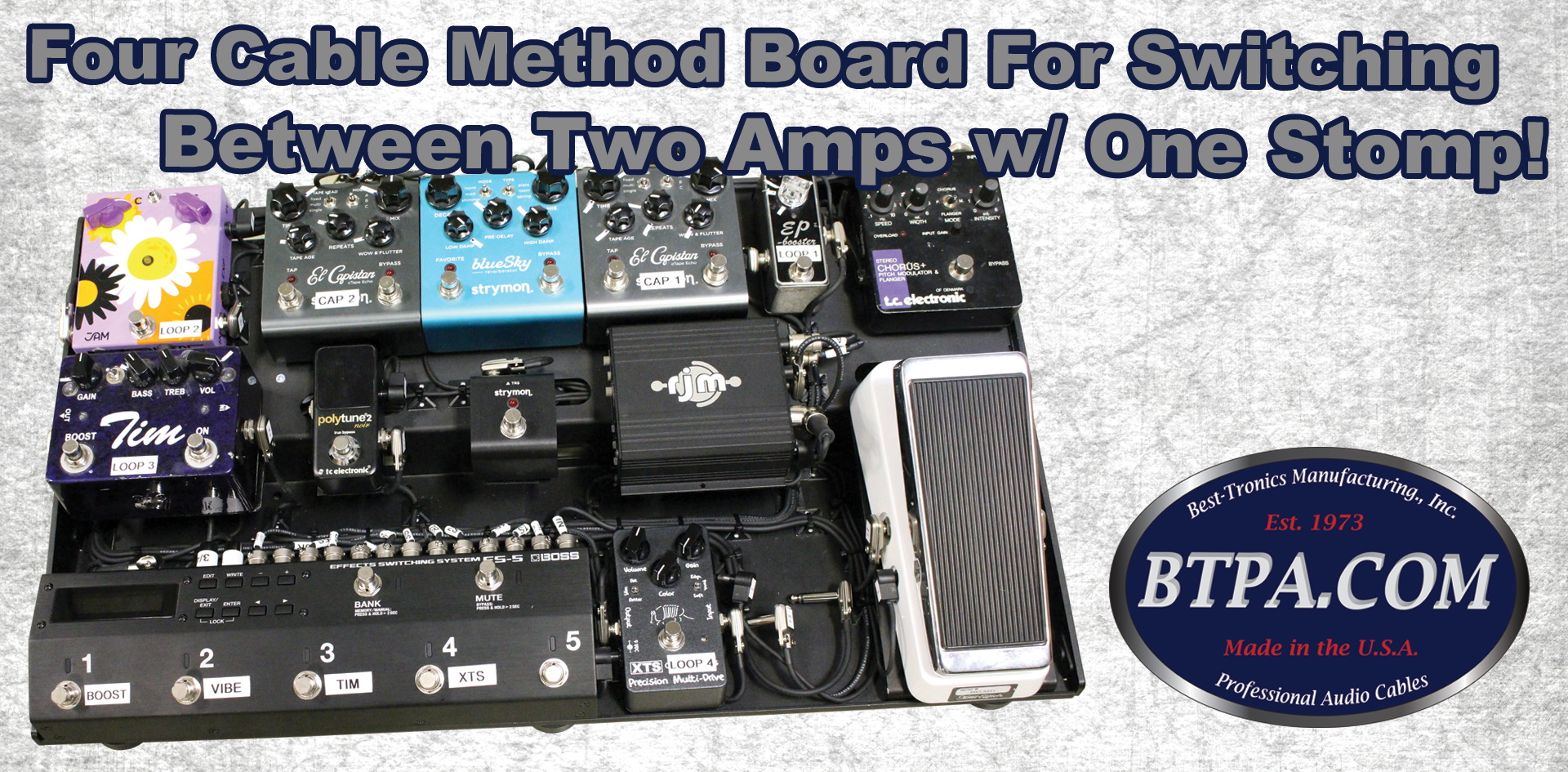 We Built a Four Cable Method Pedalboard to Switch Between Two Amps!