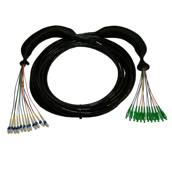 SM TAC12 LC-SC/APC Breakout Cable with Protection Socks